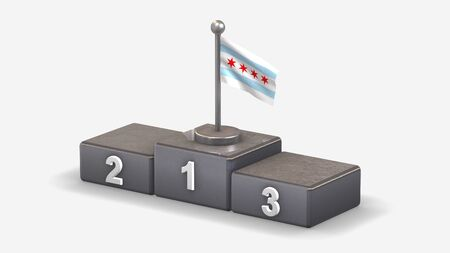 Chicago 3D waving flag illustration on winner podium with three rank places. Isolated on white background.  Фото со стока