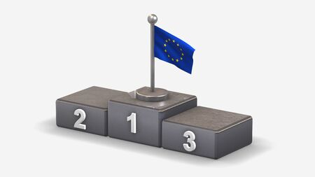 European Union 3D waving flag illustration on winner podium with three rank places. Isolated on white background.  Фото со стока