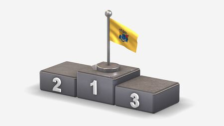 New Jersey 3D waving flag illustration on winner podium with three rank places. Isolated on white background.