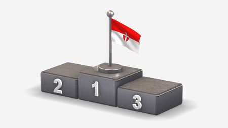 Vienna 3D waving flag illustration on winner podium with three rank places. Isolated on white background.