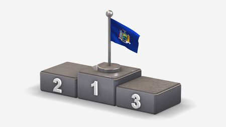 New York 3D waving flag illustration on winner podium with three rank places. Isolated on white background.