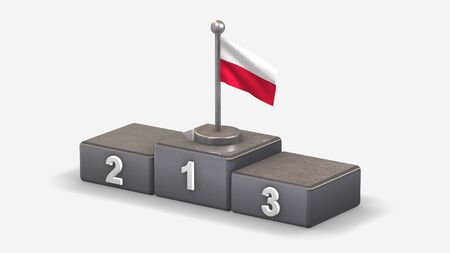 Poland 3D waving flag illustration on winner podium with three rank places. Isolated on white background.