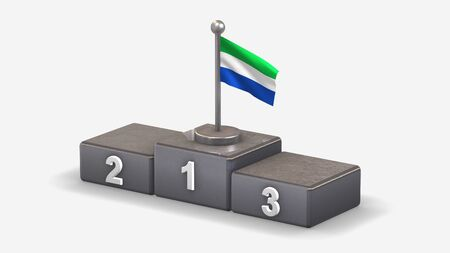 Galapagos 3D waving flag illustration on winner podium with three rank places. Isolated on white background.