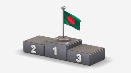 Bangladesh 3D waving flag illustration on winner podium with three rank places. Isolated on white background. Stockfoto
