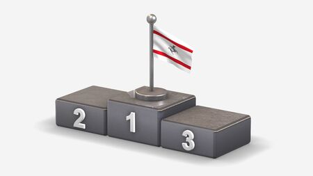 Tuscany 3D waving flag illustration on winner podium with three rank places. Isolated on white background.