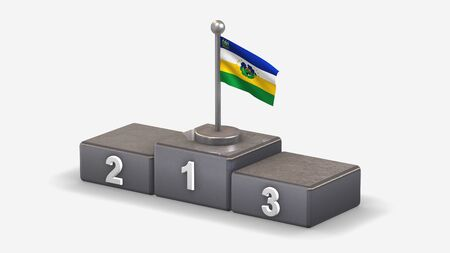 Guarico 3D waving flag illustration on winner podium with three rank places. Isolated on white background.
