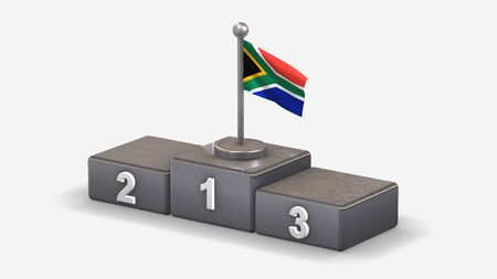 South Africa 3D waving flag illustration on winner podium with three rank places. Isolated on white background.