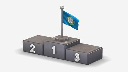 South Dakota 3D waving flag illustration on winner podium with three rank places. Isolated on white background.