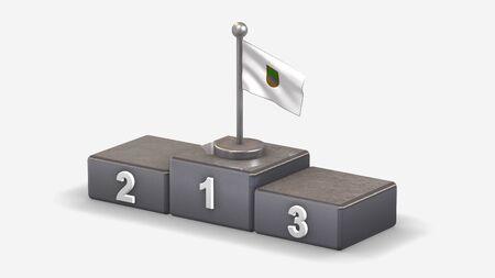 Gipuzkoa 3D waving flag illustration on winner podium with three rank places. Isolated on white background.