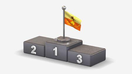 Jacksonville Florida 3D waving flag illustration on winner podium with three rank places. Isolated on white background. Stockfoto