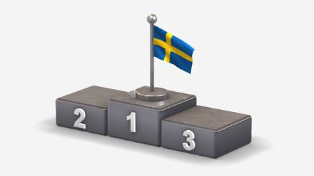 Sweden 3D waving flag illustration on winner podium with three rank places. Isolated on white background. Stock Photo