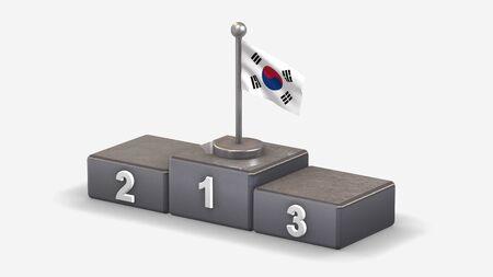 South Korea 3D waving flag illustration on winner podium with three rank places. Isolated on white background.  版權商用圖片