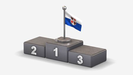 Trentino-South Tyrol 3D waving flag illustration on winner podium with three rank places. Isolated on white background.