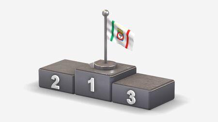 Apulia 3D waving flag illustration on winner podium with three rank places. Isolated on white background.  Reklamní fotografie