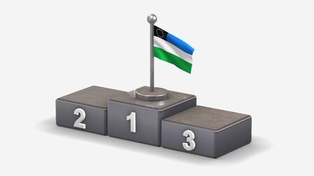 Rio Negro 3D waving flag illustration on winner podium with three rank places. Isolated on white background.