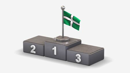 Devon 3D waving flag illustration on winner podium with three rank places. Isolated on white background.