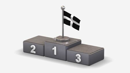 Cornwall 3D waving flag illustration on winner podium with three rank places. Isolated on white background.