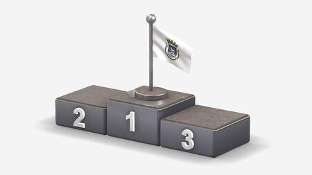 San Juan_US 3D waving flag illustration on winner podium with three rank places. Isolated on white background.