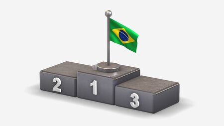 Brazil 3D waving flag illustration on winner podium with three rank places. Isolated on white background.