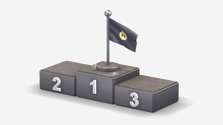 Metropolitan 3D waving flag illustration on winner podium with three rank places. Isolated on white background. Фото со стока