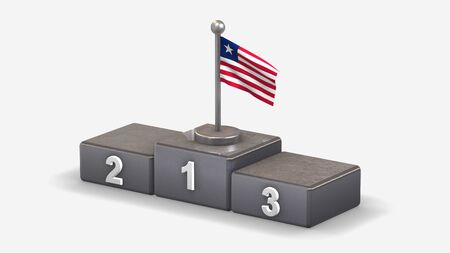 Liberia 3D waving flag illustration on winner podium with three rank places. Isolated on white background.
