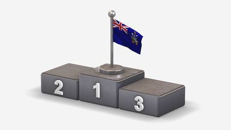 South Georgia And The South Sandwich Islands 3D waving flag illustration on winner podium with three rank places. Isolated on white background.