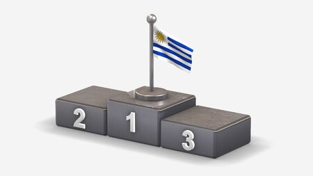 Uruguay 3D waving flag illustration on winner podium with three rank places. Isolated on white background.