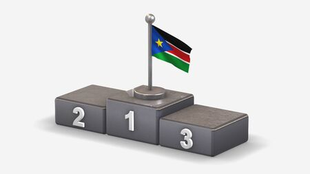 South Sudan 3D waving flag illustration on winner podium with three rank places. Isolated on white background.