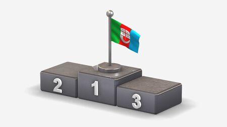 Liguria 3D waving flag illustration on winner podium with three rank places. Isolated on white background.