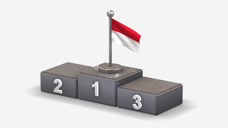 Indonesia 3D waving flag illustration on winner podium with three rank places. Isolated on white background.