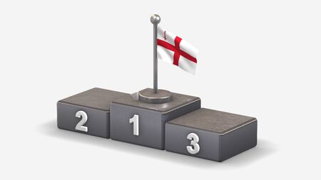 The City London 3D waving flag illustration on winner podium with three rank places. Isolated on white background.  写真素材