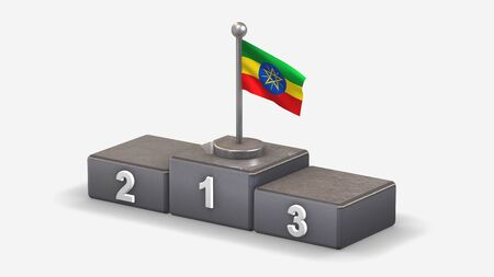 Ethiopia 3D waving flag illustration on winner podium with three rank places. Isolated on white background.  Фото со стока