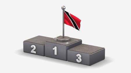 Trinidad And Tobago 3D waving flag illustration on winner podium with three rank places. Isolated on white background.