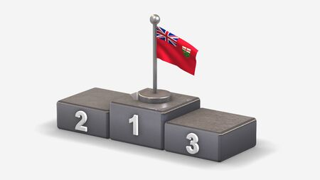 Ontario 3D waving flag illustration on winner podium with three rank places. Isolated on white background.