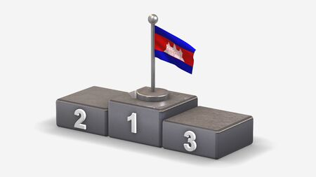 Cambodia 3D waving flag illustration on winner podium with three rank places. Isolated on white background. Фото со стока
