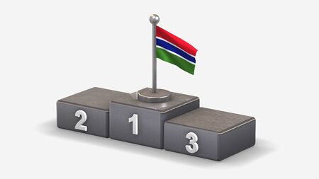 Gambia 3D waving flag illustration on winner podium with three rank places. Isolated on white background.