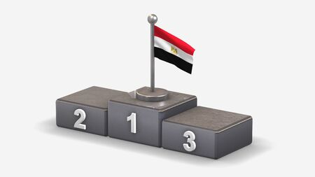 Egypt 3D waving flag illustration on winner podium with three rank places. Isolated on white background.