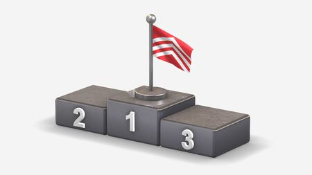 Glamorgan 3D waving flag illustration on winner podium with three rank places. Isolated on white background.
