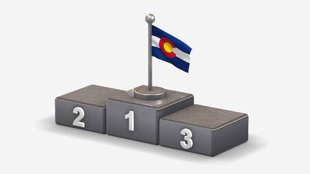 Colorado 3D waving flag illustration on winner podium with three rank places. Isolated on white background.