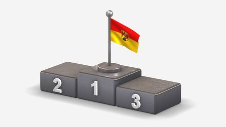 Burgenland 3D waving flag illustration on winner podium with three rank places. Isolated on white background.