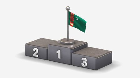 Turkmenistan 3D waving flag illustration on winner podium with three rank places. Isolated on white background.  Stock Photo