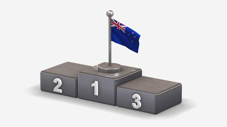 New Zealand 3D waving flag illustration on winner podium with three rank places. Isolated on white background.