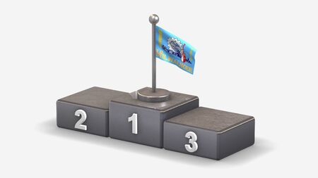 Milwaukee Wisconsin 3D waving flag illustration on winner podium with three rank places. Isolated on white background.
