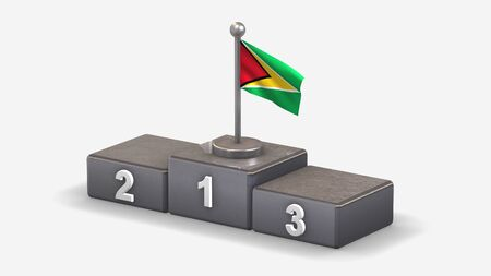 Guyana 3D waving flag illustration on winner podium with three rank places. Isolated on white background.  Фото со стока