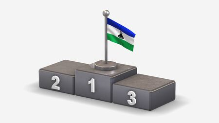 Lesotho 3D waving flag illustration on winner podium with three rank places. Isolated on white background.