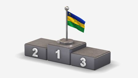 Anzoategui 3D waving flag illustration on winner podium with three rank places. Isolated on white background.