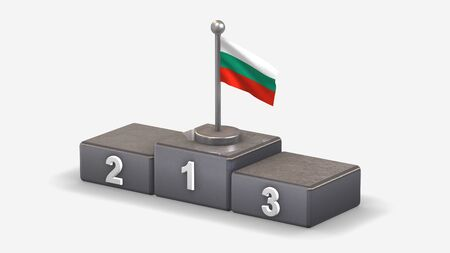 Bulgaria 3D waving flag illustration on winner podium with three rank places. Isolated on white background.