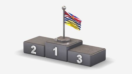 British Columbia 3D waving flag illustration on winner podium with three rank places. Isolated on white background.