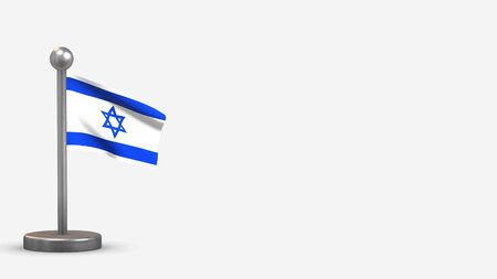 Israel 3D waving flag illustration on a tiny metal flagpole. Isolated on white background with space on the right side.