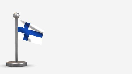 Finland 3D waving flag illustration on a tiny metal flagpole. Isolated on white background with space on the right side.